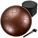 Amkoskr 12 Pulgadas 30cm Tambor de Lengua de Acero con 11 Notas Percusión Instrumento Tambor de Mano con Mazos de Tambor/Bolsa de Transporte(Bronce)