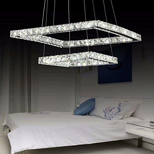 LOCO Luxus moderner Kristall LED-Leuchter, moderne quadratische Edelstahl-Überzug-moderne Hauptdecken-Leuchte (Durchmesser: 20 * 12 Zoll) Dimmable Mit Fernbedienung