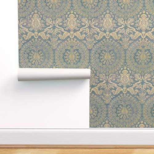 blau, gelb, gold, Mittelalter, Paisley, Damast, persisch, Brokat Spezialangefertigte Vorgekleisterte Tapete 61 cm x 310 cm von Spoonflower