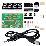 WHDTS 4-Digit Digital Clock Kits with PCB for Soldering Practice Learning Electronics with English Instructions