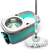 KP Solutions Spin Mop Bucket Wringer | Durable Stainless Steel Spin Dry Bucket & Telescopic Handle | Soft Washable Absorbent Microfiber Heads | Build In Soap Dispenser & Easy Foot Pedal Mop Rotation, 3 Assorted Colors