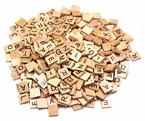 M-Aimee 300 Wood Scrabble Tiles Wooden BlackNumbers Letters Board Crafts (Two And Three Letter Scrabble Words With Z)