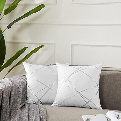 Gigizaza - Funda de cojín grande de 50 x 50 cm, funda decorativa cuadrada de color blanco para dormitorio, sofá, sala de estar, 2 unidades