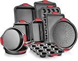 Perlli 10-Piece Nonstick Carbon Steel Bakeware Set With Red Silicone Handles | |Metal, Reusable,...