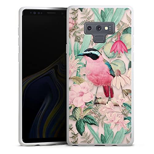 DeinDesign Silikon Hülle kompatibel mit Samsung Galaxy Note 9 Hülle weiß Handyhülle Wasserfarbe Vogel Tiere