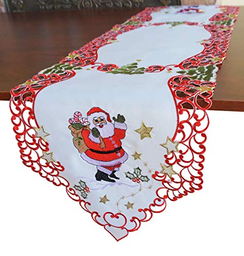 """GRANDDECO Holiday Christmas Table Runner, Cutwork Embroidered Floral Christmas Santa Claus Dresser Scarf Table Topper for Home Dining Xmas Table Top Decoration (Runner 13""""x54"""", Santa Claus)"""
