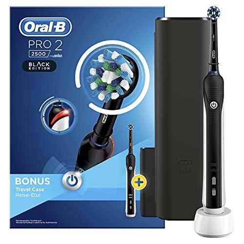 Oral-B PRO 2 2500 Black Edition Elektryczna Szczoteczka do Zębów z Wizualną Kontrolą Docisku Final z Etiu Podróżnym 10 x 17,8 x 25,3 cm