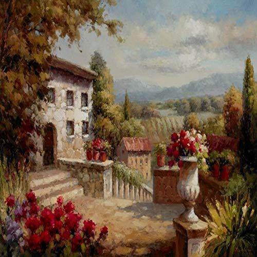 Cartel e impresiones Sea Garden Landscape Pintura al óleo sobre lienzo Imagen de pared moderna para la decoración de la sala de estar 30x40cm