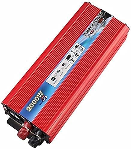 WDSZXH Inversor de energía para automóviles 200 0W DC 12V 24V para AC110V 230V Convertidor de onda sinusoidal pura con C.A. Salidas y USB Puerto, Convertidor de automóviles para (Color: 2000W, Tamaño: