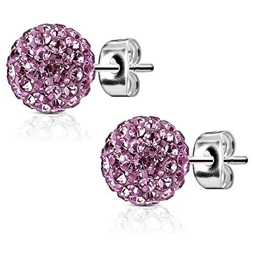 bungsa grandes pendientes 9mm color morado Shamballa Crystal ear-studs para las mujeres y los hombres de acero inoxidable