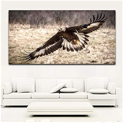 Drucke auf Leinwand Tierbilder Adler Moderne Wandkunst Wohnkultur 60x80cm Gerahmtes Aquarell