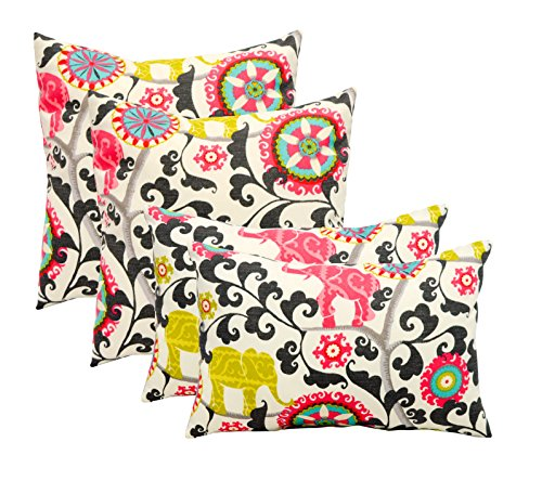 Set of 4 Indoor / Outdoor Pillows - 17' Square Throw Pillows & Rectangle / Lumbar Decorative Throw Pillows - Pink, Lime Green, Gray, Turquoise Bohemian Elephant Menagerie Spectrum Fabric