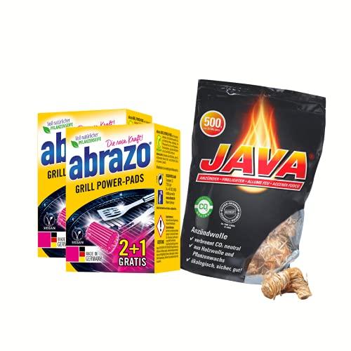 abrazo Grill-Set, Grill Power-Pads Grillreiniger 2X 2+1 & 32 Stück Java Bio-Holzwolle Wachs Grillanzünder für Kamin, Grill, Ofen-Anzünder