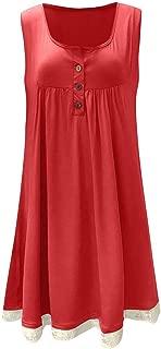 JJLIKER Women Lace Patchwork Hem Sleeveless Vest Button Min Dress Summer Loose Beach Cami Tank Dress Plus Size(S-5XL)