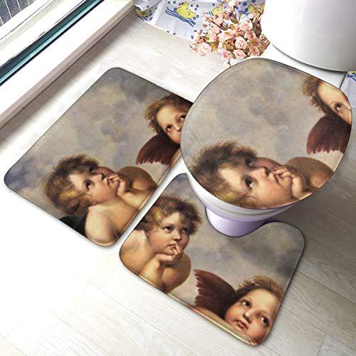 FHDA Two Angels 3 Piece Bathroom Rug Set, Anti-Skid Pads Bath Mat + Contour + Toilet Lid Cover