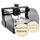 CNC DIY 3018 Pro Max GRBL Control DIY Mini Machine, Fresadora de PCB de 3 ejes, Enrutador de madera Grabador con controlador fuera de línea Área de trabajo, con ER11 y 5mm Barra de extensión (3W)