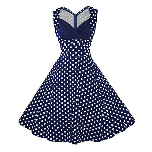 jaren '50 rockabilly-jurk vintage 50s zomerjurk - blauw met polka dots - Jenny