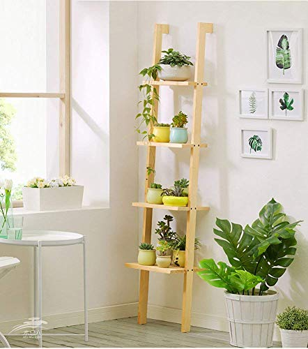 CHOUCHOU Shelves Solid Wood Flower Pot Stand Multilayer Planter Ladder Living Room Succulents Indoor Rack Shelving Potted Plant Display Shelf,Charcoal Color,Colour Name:Charcoal Color Flower Pot Rack
