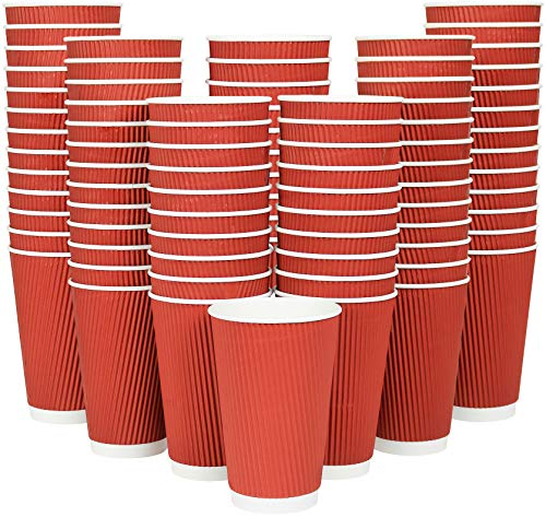 [108] Disposable Coffee Cups 16 Oz Hot Paper Coffee Cups Insulated Ripple Tea Cup Travel To Go by Galashield