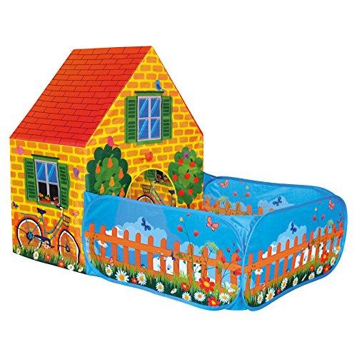 Bino Spielzelt Haus mit Vorgarten für Drinnen und Draußen Spielzeug für Kinder ab 3 Jahre (leichte Reinigung, robust, wasserabweisend, Maße: 150 x 110 x 90 cm, Material: Polyester), Bunt