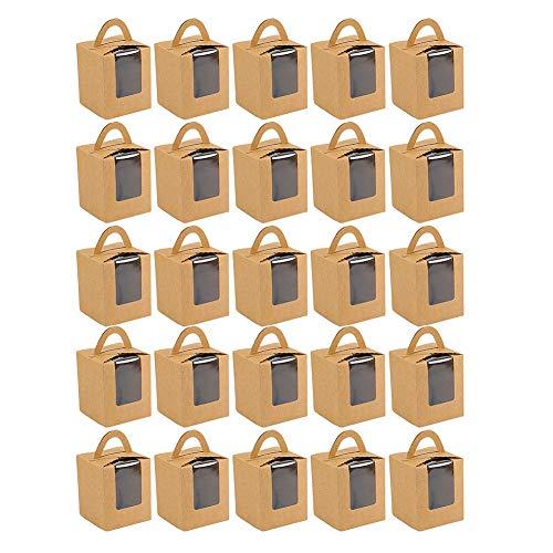 Las Cajas De Galletas De La Magdalena Contenedores BolleríA PanaderíA Caja con La Caja Ventana De La Torta del Papel De Embalaje De Regalo De La Torta Galletas Dulces De Navidad Caso De Papel 25pcs