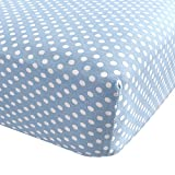Fitted Knit Crib Sheet - Best Crib Sheet for Baby - Infant   Toddler 100% Cotton Jersey Knit Deep Fitted Bed Sheet (28' X 52' (Standard Crib), Polka Dot Blue)