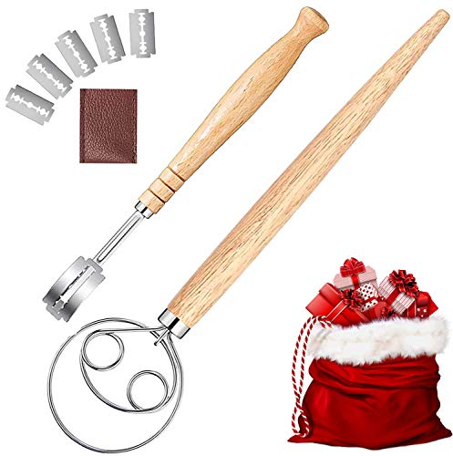 Danish Dough Whisk And Bread Lame Set Perfect Sourdough Admixer Set Dutch Style Stainless Steel Kitchen Tools Great As A Christmas Gift