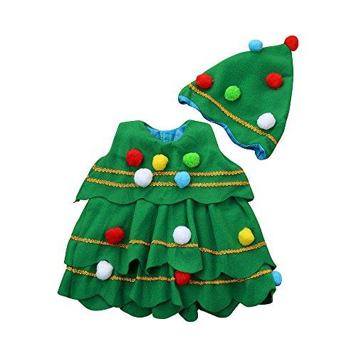 GiveKI Completi Bambini Cosplay Natale Costume Vestito Spettacolo Costume Albero Natale Bambino Vestito Festa Palla Capelli Abiti + Cappello Unisex Partito Vestito Carnevale Outfits (Verde, 24Mesi)