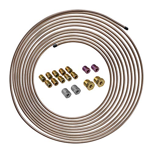 4LIFETIMELINES 25 ft 3/16 Copper-Nickel Alloy Brake Line Replacement Tubing Coil and Fitting Kit, 16 Fittings Included, Inverted Flare, SAE Thread, 0.028 inch wall thickness