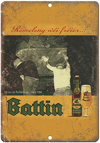 Blechschild, Vintage-Retro-Design, Motiv: Battin Beer, Vintage-Stil, Metall, 25,4 x 35,6 cm