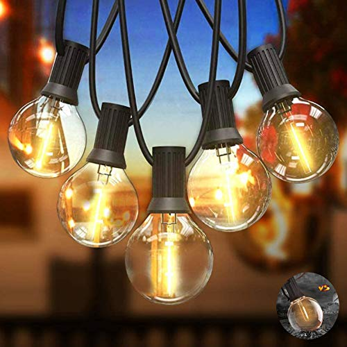 Svater String Lights 25Ft 12Pcs G40 LED Plastic Globe Bulbs- Heavy Duty Festoon String Light,IP45 Outdoor String Lights Bulb 1W 2700K Warm for Home,Garden,Terrace,Party,Wedding[Energy Class A+]
