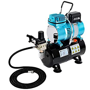 Master Airbrush 1/5 HP Cool Runner II Dual Fan Tank Air Compressor Kit Model TC-326T - Professional Single-Piston with 2 Cooling Fans Runs Longer Without Overheating - Regulator Water Trap Holder