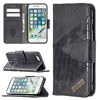 電話ケース IPhone 7/8プレミアム多機能ウォレット携帯電話レザーケースプレミアムソリッドカラーPUレザーケース、クレジットカードホルダーキックスタンド機能折りたたみケース スマートフォン裏表紙 (Color : BLACK)