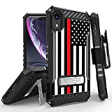 Beyond Cell TRISHIELD Series Rugged Cover with + [Belt Clip Holster] + [Built in Kickstand] Compatible with iPhone XR 6.1- Thin RED LINE US Flag Flag