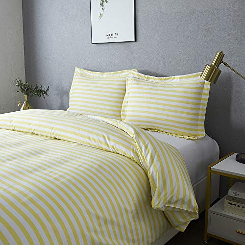 Best Season Queen Size Striped Bedding Duvet Cover Sets 3 Piece with 2 Pillow Shams,Zipper Closure Super Soft Brushed Microfiber Comforter Cover (Stripe Yellow Color)