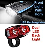Bulfyss Combo of Rechargeable Bike Front Horn and Light 120 DB with Super Bright 250 Lumen Light and Raypal Dual LED Bicycle Rear Tail Light