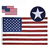 Losong American Flag 3x5 ft- Made in USA, Heavyweight Fade Resistant Tough Durable 210D Nylon US Flag, Embroidered Stars Sewn Stripes Brass Grommets Vibrant Color Outdoor Indoor Premium USA Flag