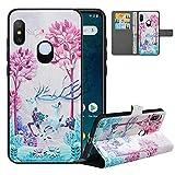 LFDZ Cover Xiaomi Mi A2 Lite con [RFID Blocco],Custodia Redmi 6 PRO Cover con Staccabile Premium PU Pelle Portafoglio,Flip Wallet con Magnetico Case per Xiaomi Mi A2 Lite/Redmi 6 PRO,Deer