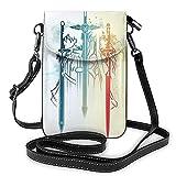 XCNGG Monedero pequeño para teléfono celular S-word Art O-nline Crossbody Bags for Women's Crossbody Handbags Cell Phone Purse Waterproof Leather Handbags Small Wallet