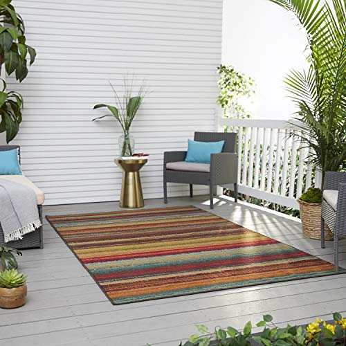 Mohawk Home Avenue Stripes Indoor/Outdoor Printed Area Rug, 5'x8', Multi