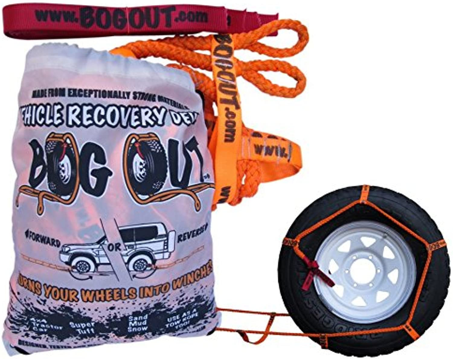 BOG OUT Twin Pack  COMPLETE Vehicle Recovery Kit  Twin Pack TURNS WHEELS INTO WINCHES  Mud, Sand & Snow WORKS Forwards AND Reverse Vehicle Recovery