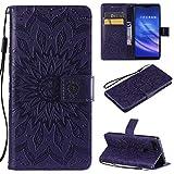 KKEIKO Hülle für Xiaomi MI 8 Lite, PU Leder Brieftasche Schutzhülle Klapphülle, Sun Blumen Design Stoßfest Handyhülle für Xiaomi MI 8 Lite - Violett