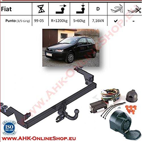AHK Anhängerkupplung mit Elektrosatz 13 polig für Fiat Punto II 1999- Anhängevorrichtung Hängevorrichtung - starr, mit angeschraubtem Kugelkopf