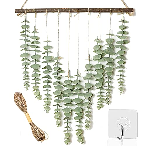 Artificial Eucalyptus Greenery Hanging Wall Decor Fake Eucalyptus Vines Wall Hanging Plants with Wooden Stick Farmhouse Rustic Boho Wall Decor for Bedroom, Living Room, Entryway and Bathroom