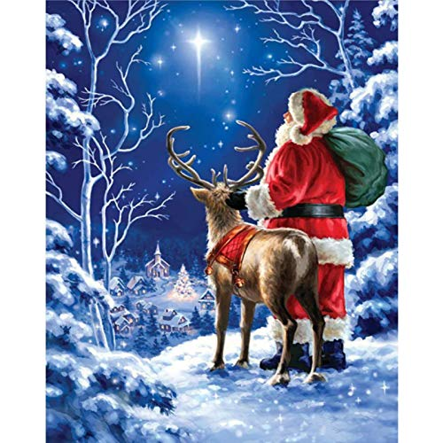 Santa Claus Diamond Painting by Number Kit for Adult, Chrismas Full Drill Crystal Rhinestone Embroidery Cross Stitch Diamond Embroidery Dotz Kit Home Decor 15.7×11.8 Inch
