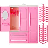 Doll Closet Furniture Wardrobe Clothing Organizer Doll Open Wardrobe Dollhouse Closet with 20 Pieces Doll Hangers 2 Style Pink Plastic Hangers Dollhouse Furniture Accessories