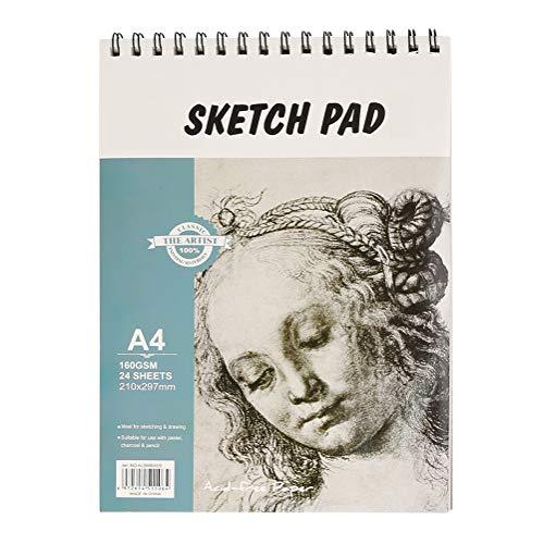 Skizzenblock, 24 Blatt, A4, 160 g/m², gemischte Medien, Skizzenblock, 297 x 21 mm, Spiralbindung, perfekt zum Skizzieren, Schablonieren, Kunstjournal und mehr