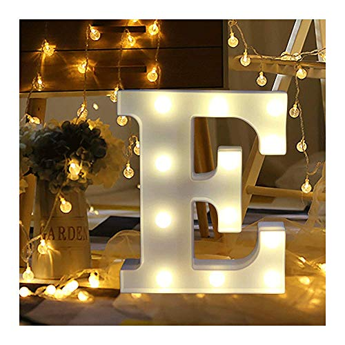Hotsellhome LED Alphabet Letter Lights Light Up Warm White Night Light Plastic Letters Numbers Standing for Home Party Bar Wedding Festival Birthday Decorations Xmas Gifts (E)
