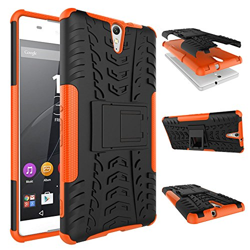 WindHülle Sony Xperia C5 Ultra Hülle, Outdoor Dual Layer Armor Tasche Heavy Duty Defender Schutzhülle mit Ständer Hülle für Sony Xperia C5 Ultra Orange