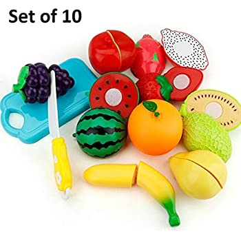 SaleON Set of 10 Kitchen Food Fruit Vegetable Cutting Kids Pretend Play Educational Toy Safety Children Kitchen Toys Sets (10pc)